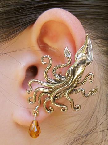 Kraken Squid Ear Cuff with Swarovski Briolette Drop - Bronze