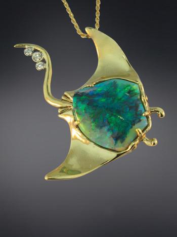 Manta Ray Opal Pendant - 18K Gold - SOLD