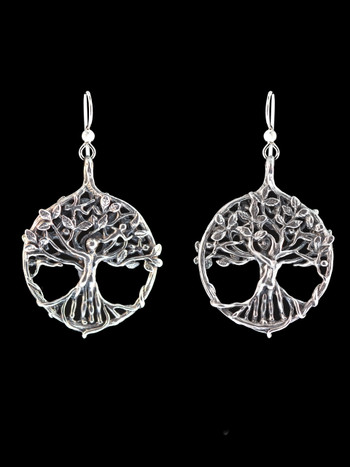 Circle of Life Tree Earrings - Silver