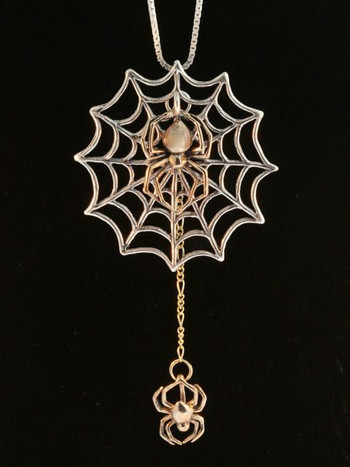 Bronze Black Widow Spider With Silver Spider Web With Bronze Chained Spider
