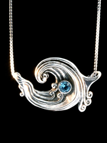 Rip Curl Wave Pendant with 5mm Gemstone - Silver