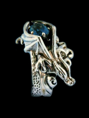 Cloud Dragon Ring - Silver with Gemstone