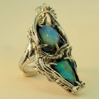 Platinum Australian Opal Dragon Ring