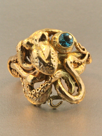 Octopus Ring With Blue Zircon - 14k Gold