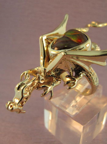 14K Gold Sculpture Dragon Ring w/ Fire Agate