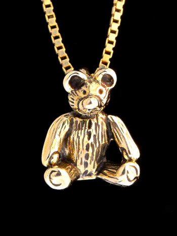 Gold Teddy Bear Charm - 14k Gold