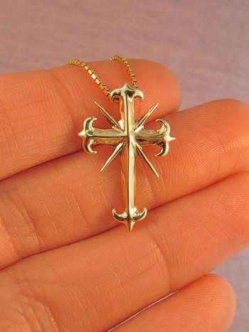14k Gold Gothic Cross Pendant