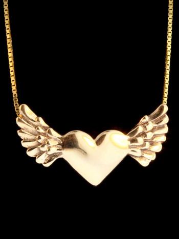Gold Angel Heart Pendant -14k Gold