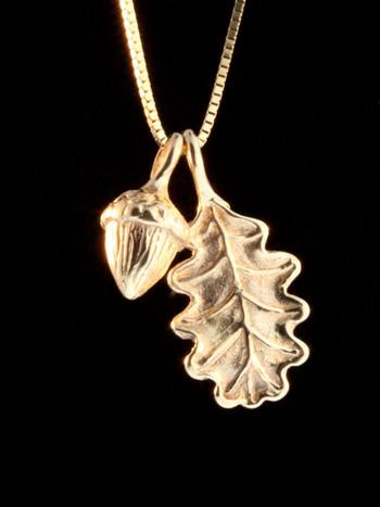 14k gold Oak Leaf & Acorn Charms
