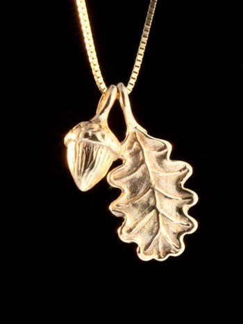 14k gold Oak Leaf & Acorn Charms