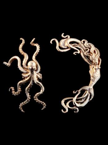 EAR CUFF SPECIAL Octopus Mermaid Ear Cuff Combo Bronze - Buy 2 Get 1 Ear Cuff Free