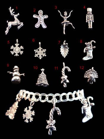 Sterling Silver Christmas Charm Bracelet