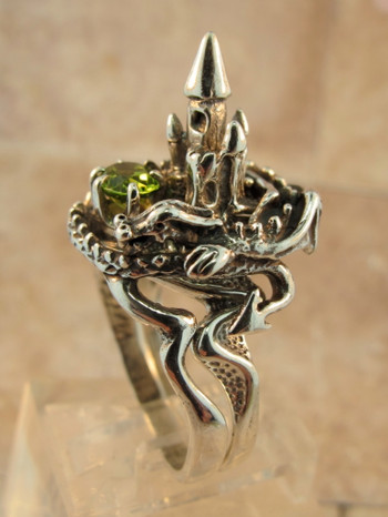 Castle Dragon Ring with Peridot - Silver