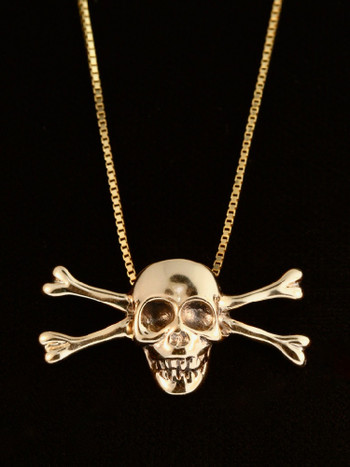Gold Skull and Crossbone Pendant - 14k Gold