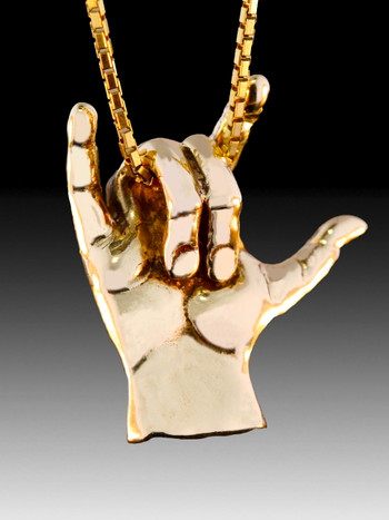 ASL Love Hand Symbol in 14k Gold