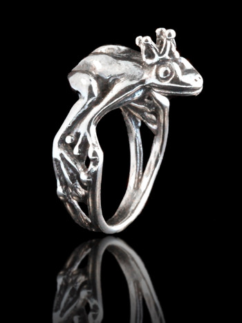 Enchanted Frog Prince Ring Silver