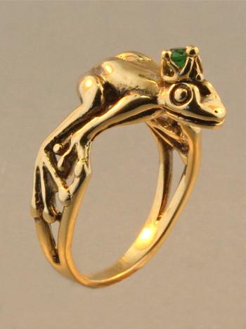 Gold - Enchanted Frog Prince Ring - 14k Gold