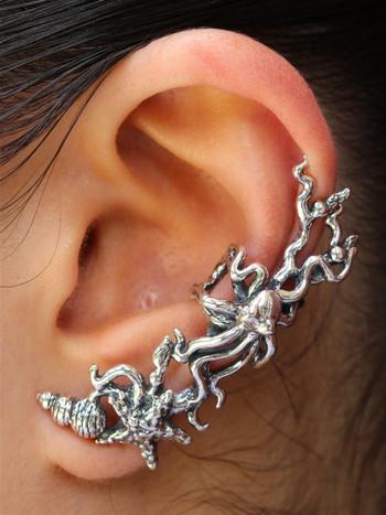 Poseidon's Gift - Octopus and Sea Star Ear Cuff - Silver