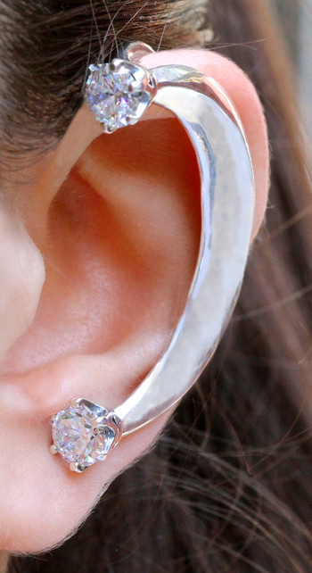Celebrity Style - Crescent Ear Wrap with CZ's