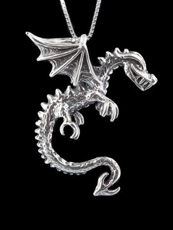 Dragon - Spike Dragon Pendant - Silver