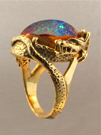 Star Fire Lagoon Dragon Ring - Mexican Matrix Fire Opal - SOLD
