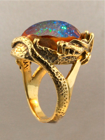 Star Fire Lagoon Dragon Ring - Mexican Matrix Fire Opal - SOLD