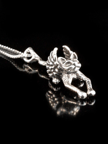 Angel Kitty Pendant in Silver
