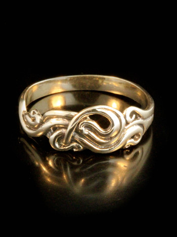 Gold Nouveau Swirl Ring - 14k Gold