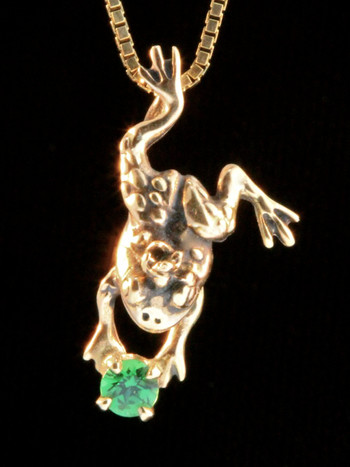 14k Gold Enchanted Frog Charm with Tsavorite