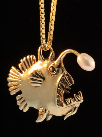 Gold Angler Fish Charm with White Pearl - 14k Gold