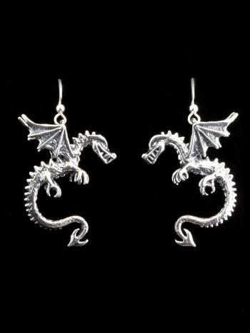 Spike Dragon Earrings - Silver