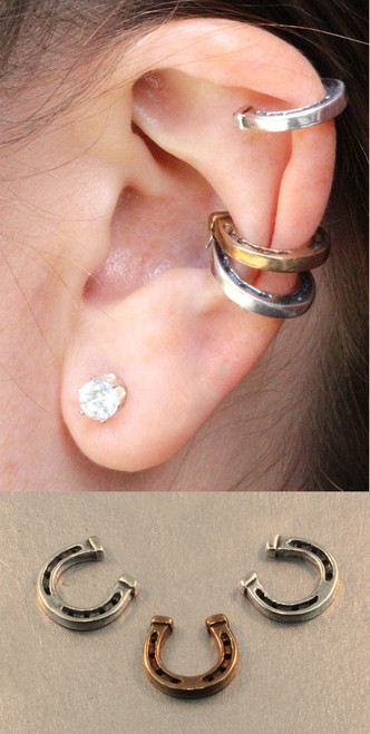 Good Luck Horseshoe Ear Cuff Combo - Silver and Bronze