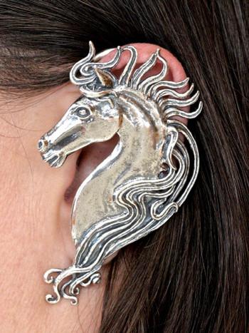 Spirit Horse Ear Wrap in Silver
