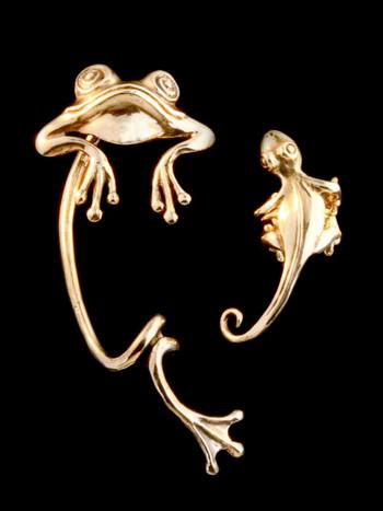 Bronze Curious Frog Ear Wrap and Bronze Gecko Ear Cuff