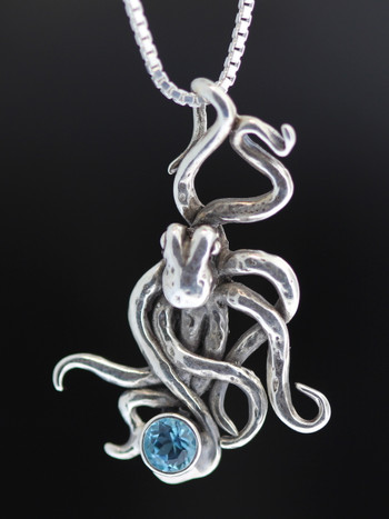 Sea Life - Octopus Charm with Gemstones - Silver