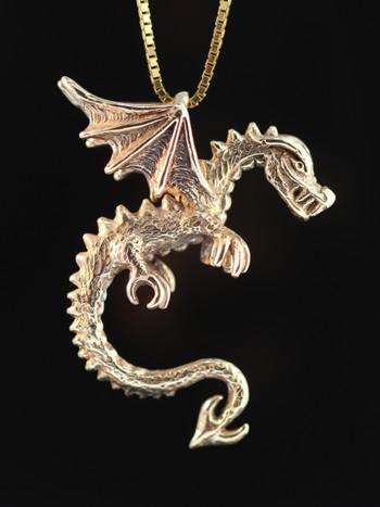 Gold Dragon - Spike the Dragon Pendant - 14k Gold