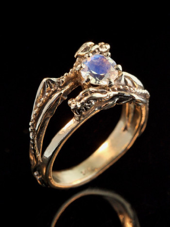 Double Dragon Eternity Ring 14k Gold with Rainbow Moonstone