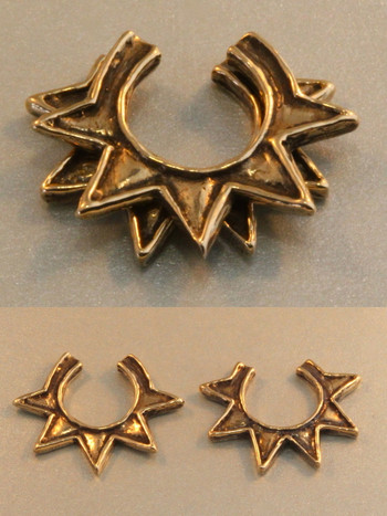 Stacking Ninja Star Ear Cuff Combo - Bronze