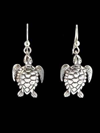 Sea Life - Sea Turtle Charm Earrings - Silver