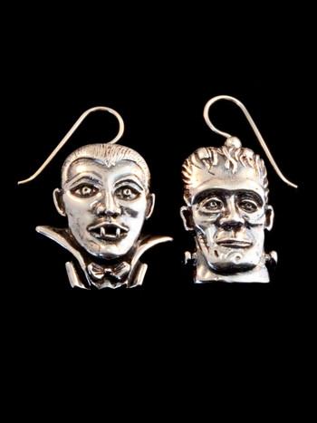 Frankenstein and Dracula Earrings - Silver