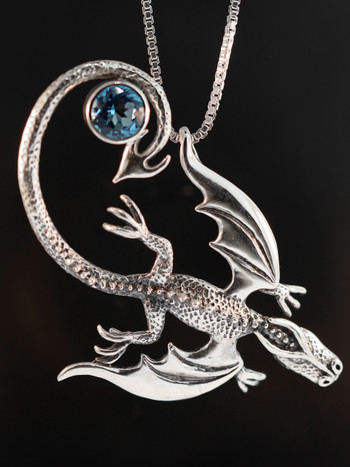 Balerion Dragon with Blue Topaz