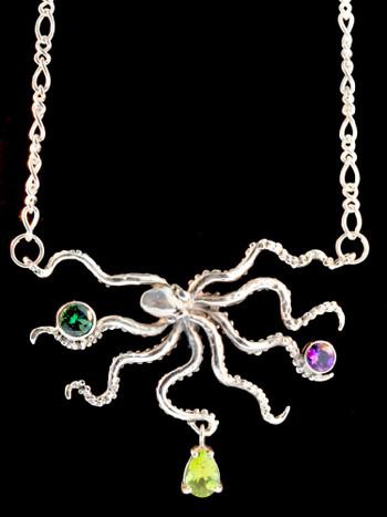 Octopus Neckpiece with Jeweled Treasures - Silver