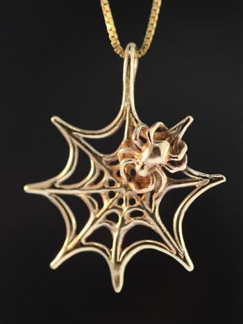 Spider Web Pendant - 14k Gold