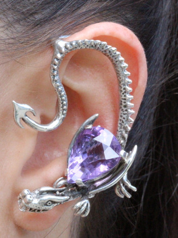 Throne Dragon Ear Wrap with Pear Shaped Amethyst - Silver