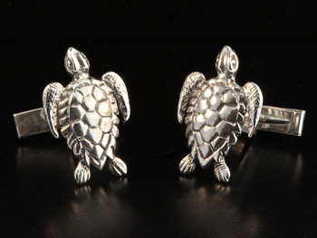 Cuff Links - Sea Turtle Cuff Links - Silver