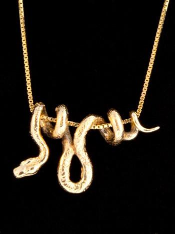 14k Gold Vine Snake Pendant