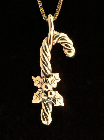 Christmas - Candy Cane Charm - 14k Gold