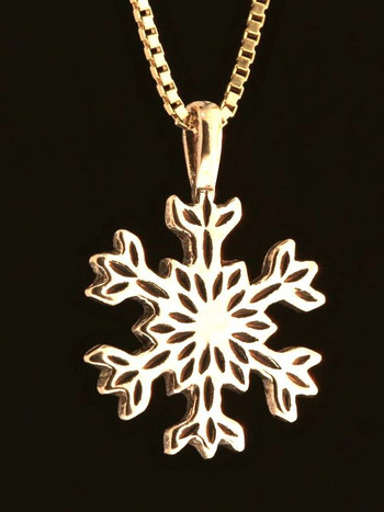 Christmas Pointed Snowflake Charm in 14k Gold