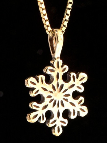 Christmas - Rounded Snowflake Charm - 14k Gold