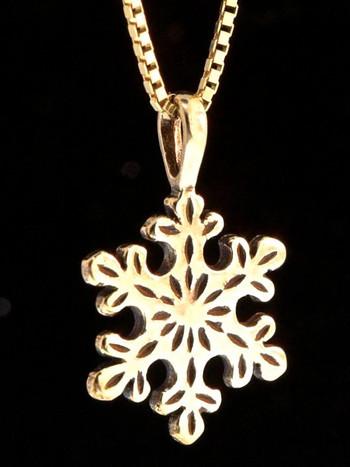 Christmas - Small Snowflake Charm - 14k Gold